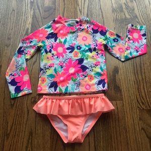 Gymboree LS girls rash guard/bikini bottom set 5T